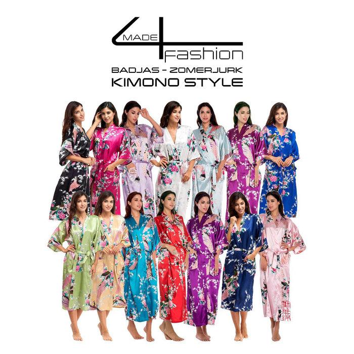Bademantel - Sommerkleid im Kimono-Stil - Weiß, Schwarz, Rot und Goldgelb