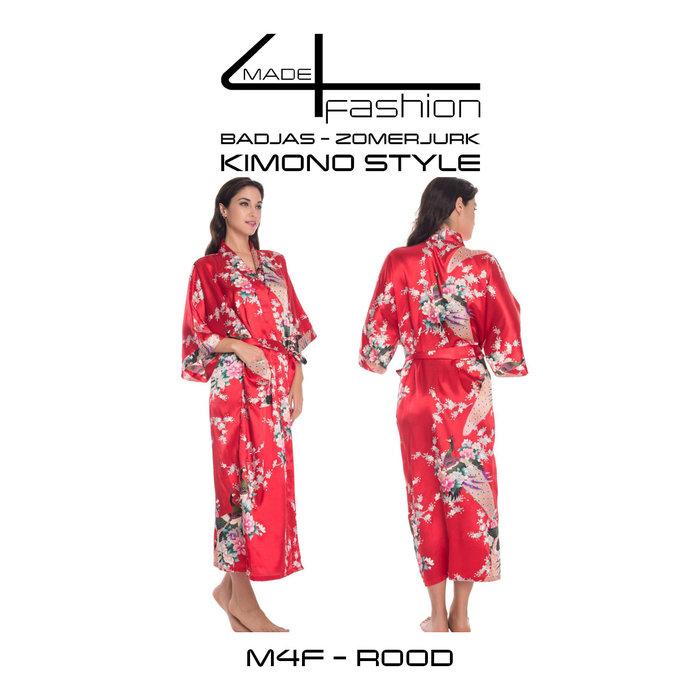 Made4fashion Sommerkleid im Kimono-Stil - weiß, schwarz, rot und goldgelb