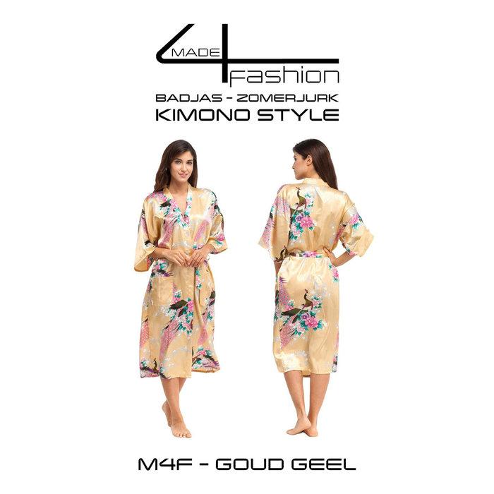 Made4fashion Zomerjurk Kimono style -  wit,  zwart, Rood en Goud geel