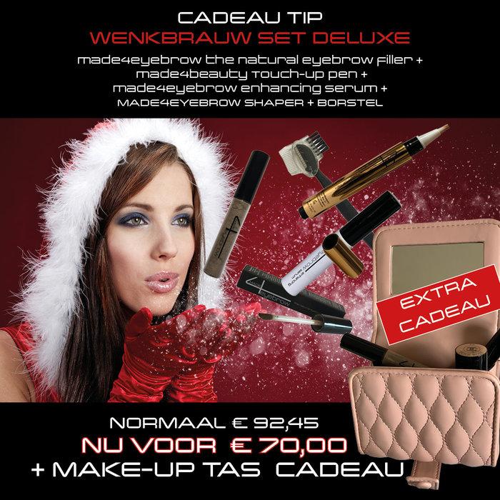 cadeau tip wenkbrauw set deluxe met make-up tas cadeau