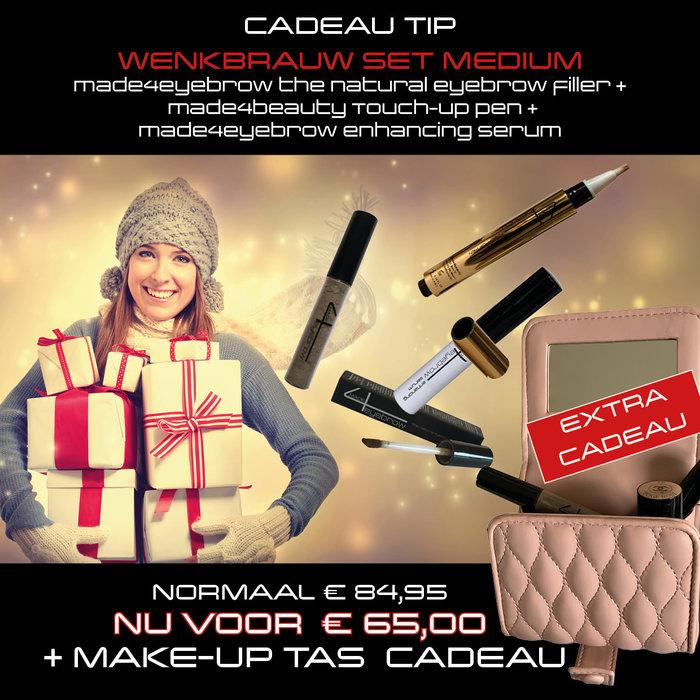 cadeau tip wenkbrauw set medium met make-up tas cadeau