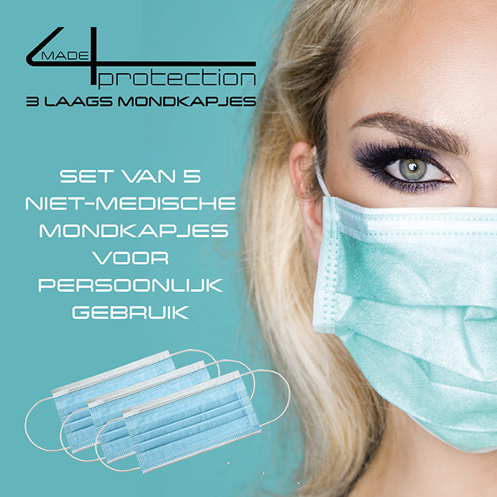 gift tip camouflage set with 5 made4protection 3-layer face mask as a gift