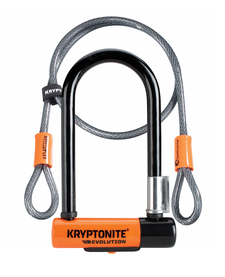 Kryptonite Evolution Mini 7 Lock with 4 Foot Cable and Flexframe Bracket Sold Secure Gold