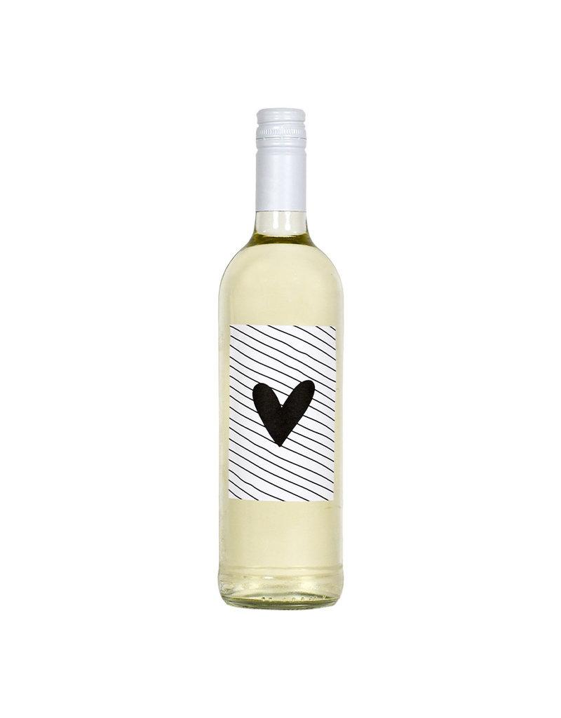 Zoedt Fles etiket met hart en streepjes patroon