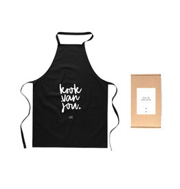 Zoedt Voor de allerliefste .... Schort met tekst 'Kook van jou' in cadeauverpakking