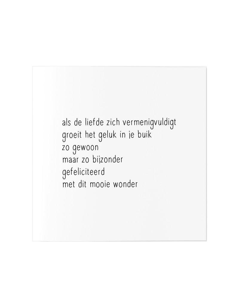 Zoedt Wenskaart met gedicht zwangerschap