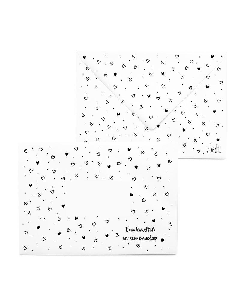 Zoedt Bedrukte envelop hartjes patroon 'Een knuffel in een envelop'