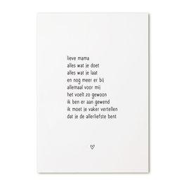 Zoedt Kaart met gedicht 'Lieve mama...'