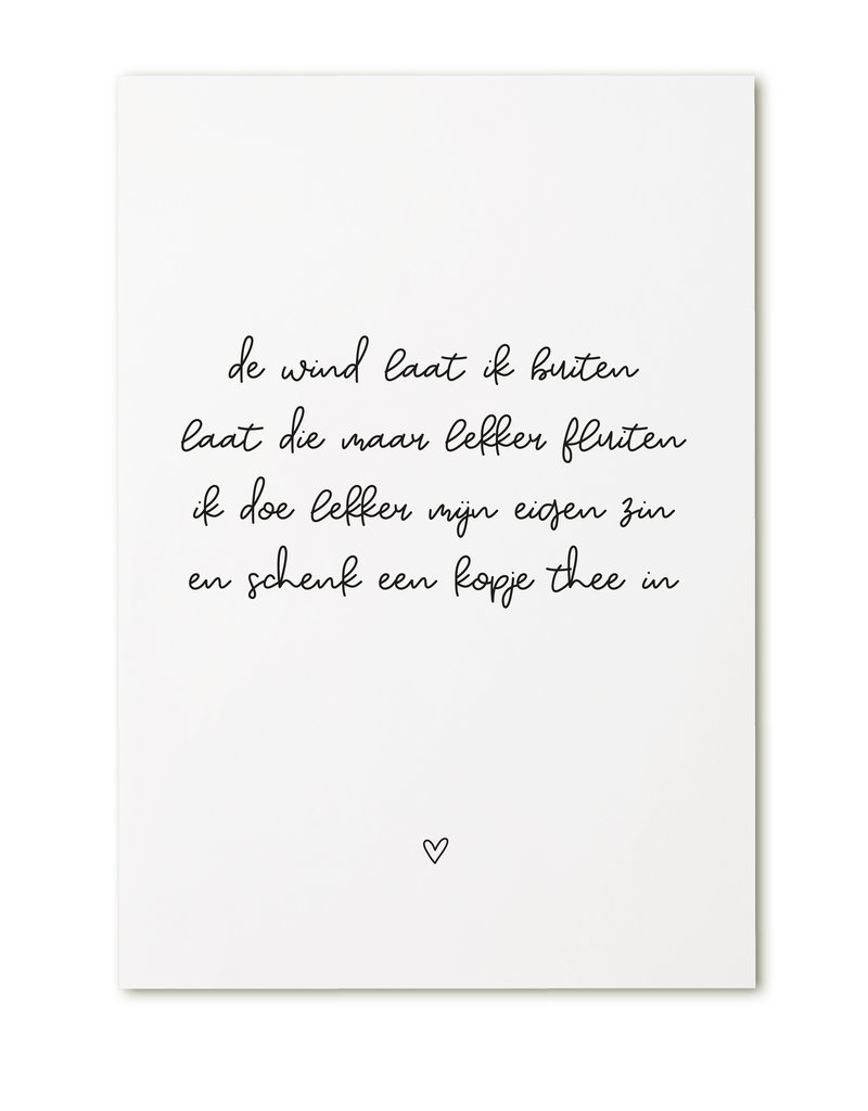 Zoedt Kaart met tekst 'De wind laat ik buiten..'