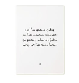 Zoedt Kaart met tekst 'Zeg het gewone gedag..'