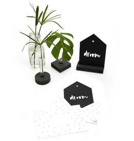 Zoedt Zwarte kaart huisje droom met bedrukte envelop