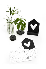 Zoedt Zwarte kaart hartje droom met bedrukte envelop