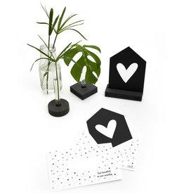 Zoedt Zwarte kaart huisje hartje met bedrukte envelop