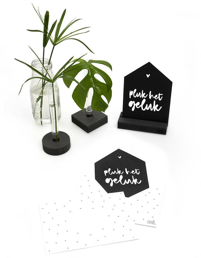 Zoedt Zwarte kaart huisje 'Pluk het geluk' met bedrukte envelop