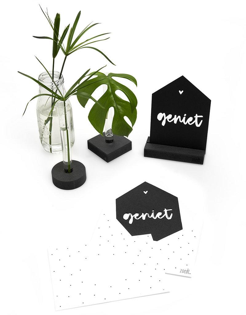 Zoedt Zwarte kaart huisje Geniet met bedrukte envelop