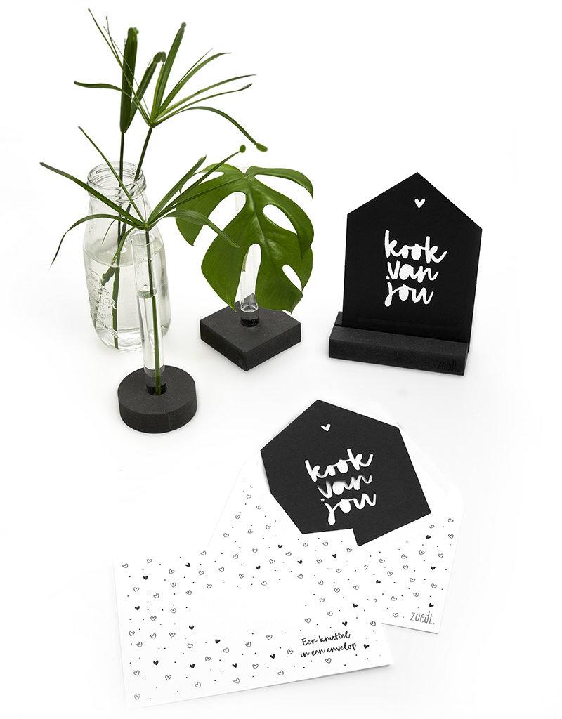 Zoedt Zwarte kaart huisje 'Kook van jou'  met bedrukte envelop