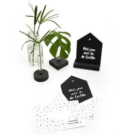 Zoedt Zwarte kaart huisje 'Met jou vier ik de liefde' met bedrukte envelop