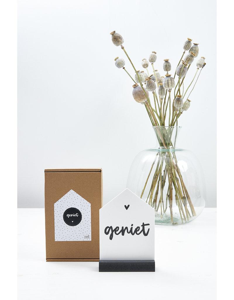Zoedt Cadeaupakket: Huisje met tekst Geniet in cadeauverpakking