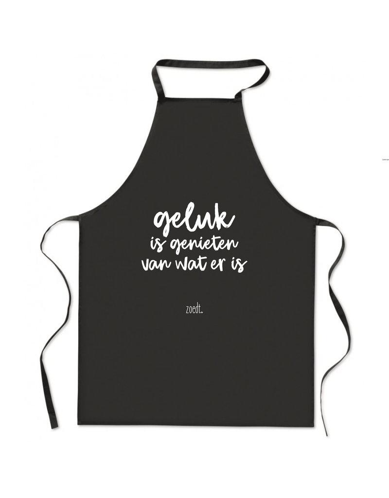 Zoedt Keukenschort met tekst 'Geluk is genieten van wat er is'