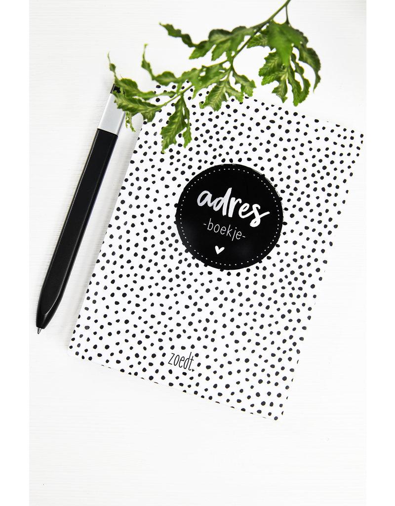 Zoedt Adresboekje zwart wit dots | A6 formaat