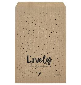 Zoedt Cadeauzakjes set van 5 met dots en tekst Lovely things inside