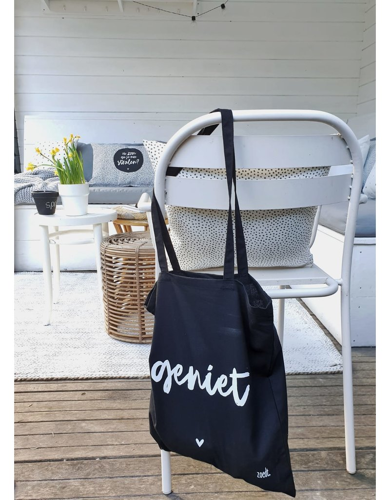 Zoedt Zwarte katoenen tas met tekst 'Geniet'