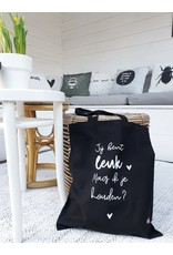 Zoedt Zwarte katoenen tas met tekst  'Jij bent leuk mag ik je houden'