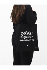 Zoedt Zwarte katoenen tas met tekst 'Geluk is genieten van wat er is'