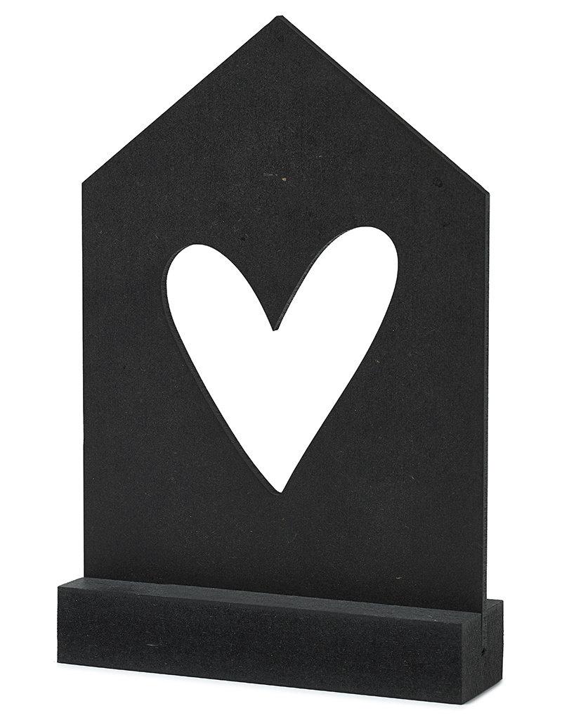 Zoedt Zwarte houten kaart huisje met standaard - hartje