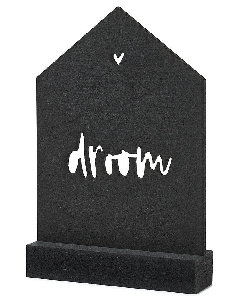 Zoedt Zwarte houten kaart huisje met standaard -Droom