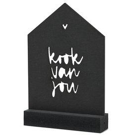 Zoedt Zwarte houten kaart huisje met standaard - Kook van jou