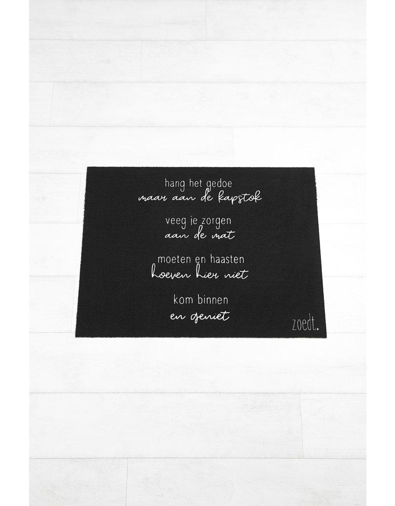 Zoedt Deurmat zwart met gedicht 'Kom binnen en geniet'