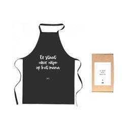 Zoedt Cadeaupakket Schort met tekst 'Er staat weer wijn op het menu'