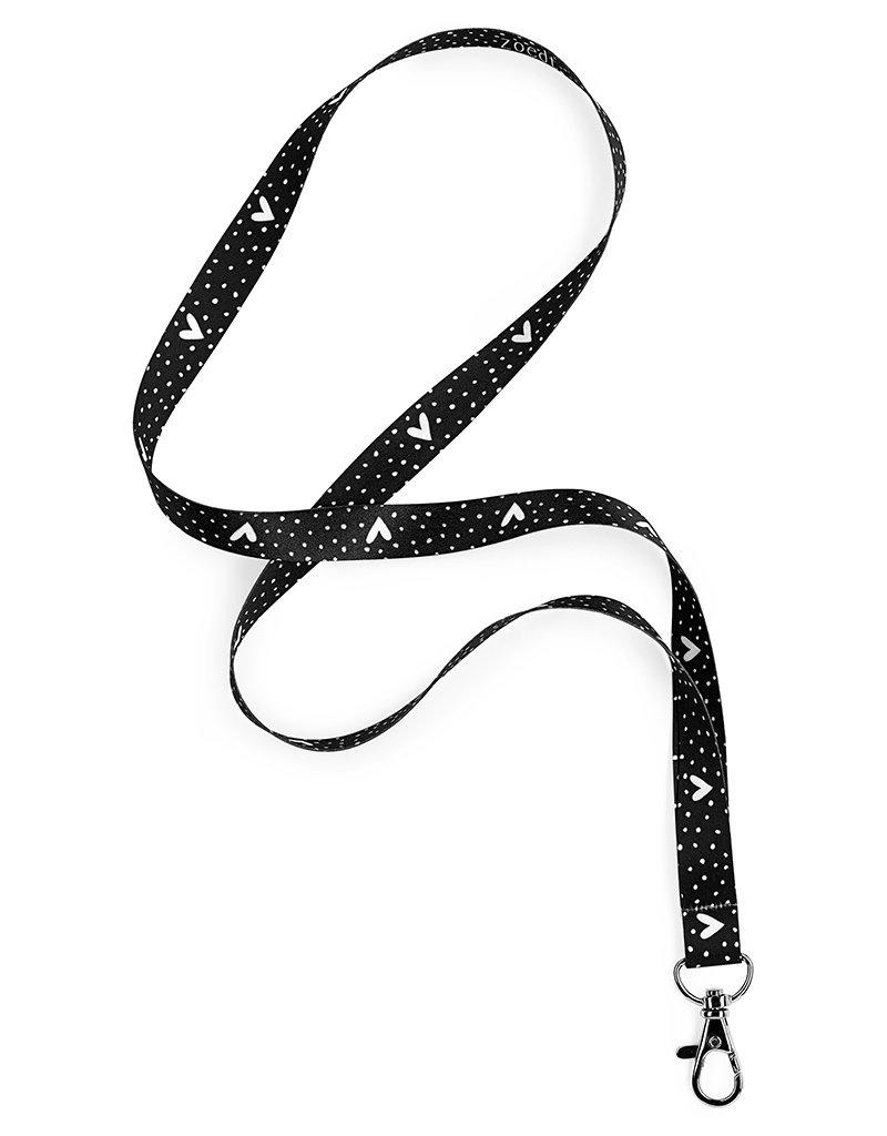 Zoedt Keycord / sleutelhanger zwart met dots en hartjes patroon
