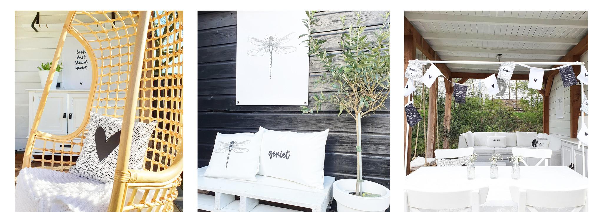 buitenkussens, tuinposters en muurcirkels voor buiten