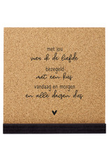 Zoedt Poster kurk vierkant met tekst 'Met jou vier ik de liefde'  20 cm