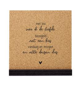Zoedt Poster kurk vierkant met tekst 'Met jou vier ik de liefde'