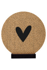 Zoedt Poster kurk | Muurcirkel met hartje en dots patroon 20 cm