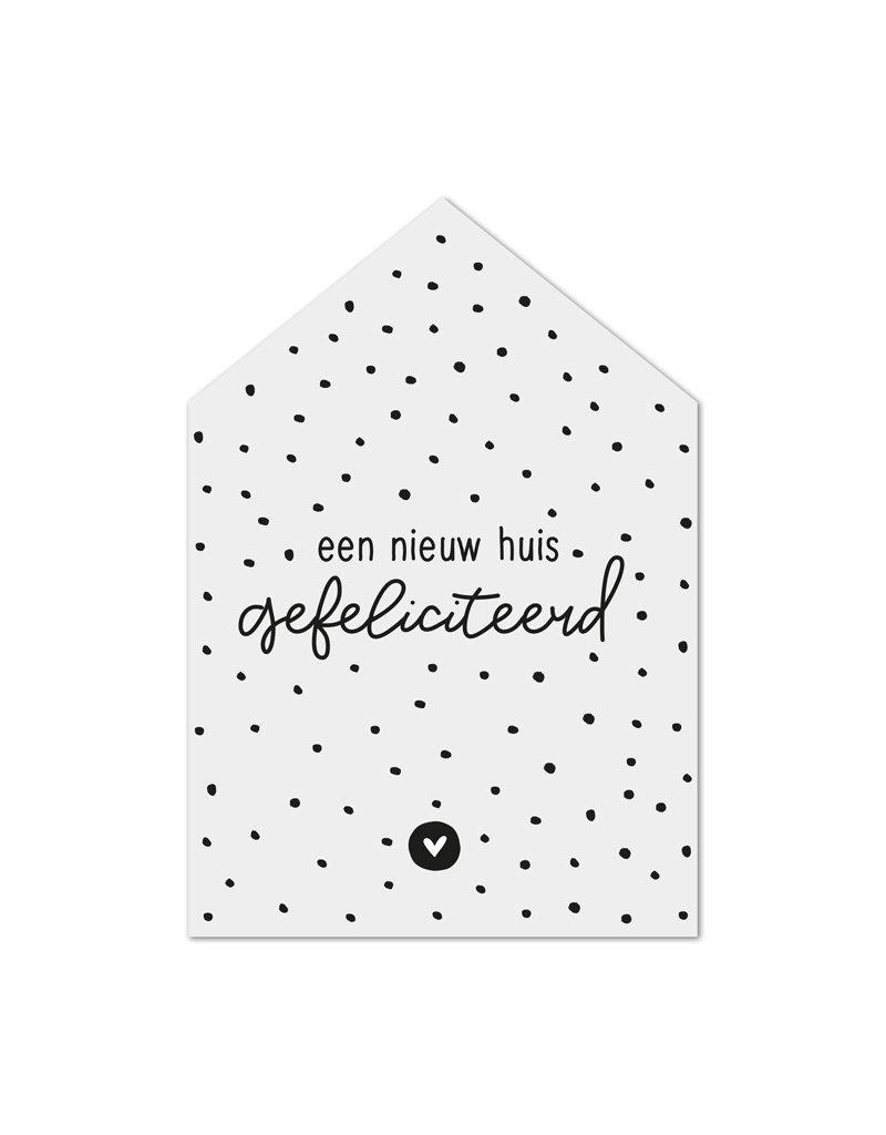 Zoedt Minikaartje huisje met tekst Een nieuw huis - gefeliciteerd