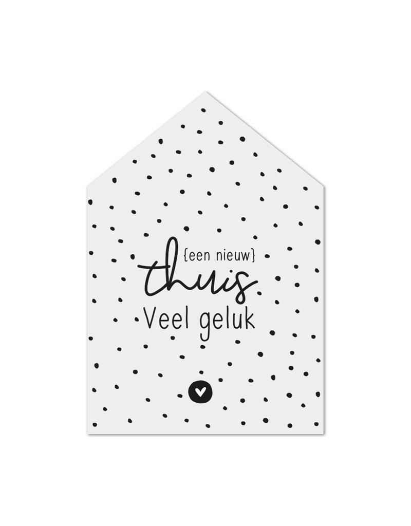 Zoedt Minikaartje huisje met tekst Een nieuw thuis - Veel geluk