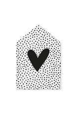 Zoedt Minikaartje huisje met hartje en dots patroon