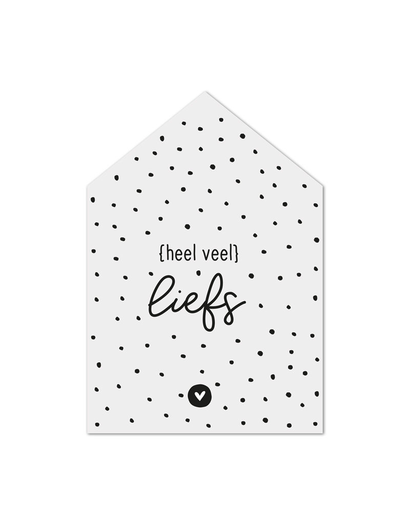 Zoedt Minikaartje huisje met tekst Heel veel liefs