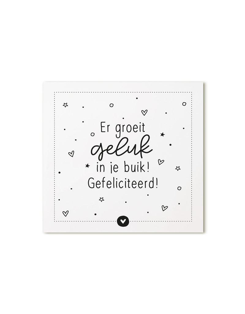 Zoedt Minikaartje met tekstEr groeit geluk in je buik! Gefeliciteerd!