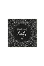Zoedt Minikaartje zwart met tekst Heel veel liefs