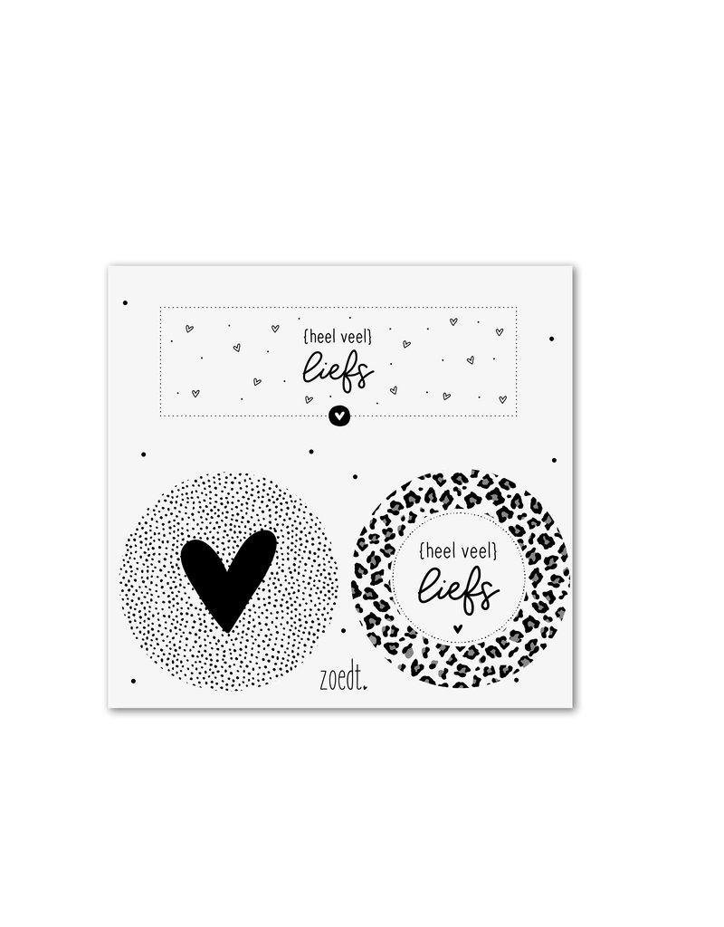 Zoedt Setje van 3 cadeaustickers zwart wit - thema liefde
