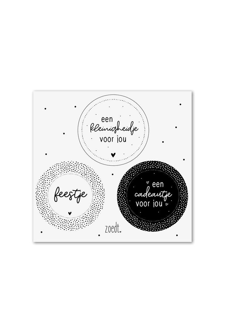 Zoedt Setje van 3 cadeaustickers zwart wit - thema cadeautjes
