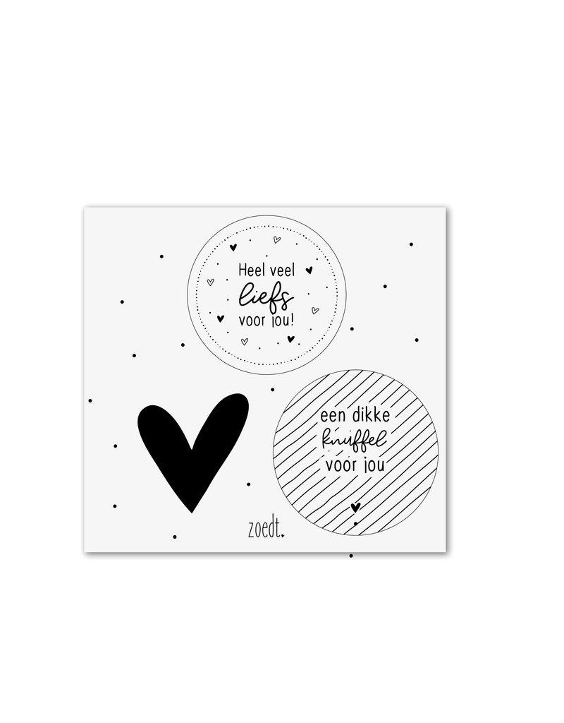 Zoedt Setje van 3 cadeaustickers zwart wit - thema heel veel liefs