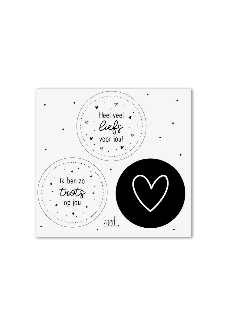 Zoedt Setje van 3 cadeaustickers zwart wit - thema Trots