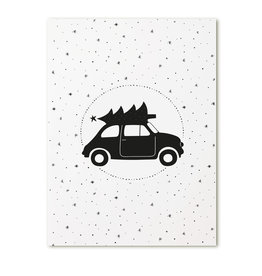 Zoedt Poster A4  Kerst auto
