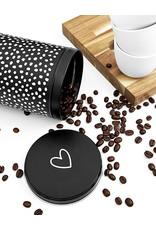 Zoedt Koffieblik zwart wit met hartje